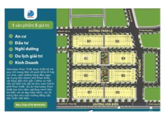 Bán cắt lỗ 2 lô đất mặt phố trần lê, dự án hamubay phan thiết, 110m2, mt 6m, đường + vỉa hè = 25m